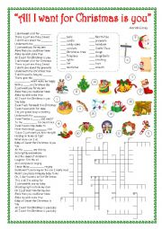 English Worksheet: ALL I WANT FOR CHRISTMAS IS YOU - SONG