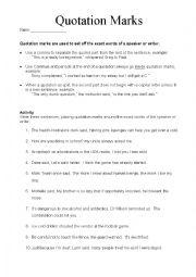 English Worksheet: Quotation Mark Packet