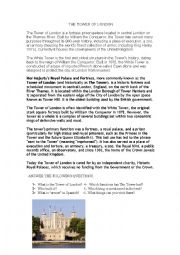 English Worksheet: The Tower of London. A basic approach.