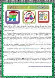 English Worksheet: WHAT IS BULLYING?