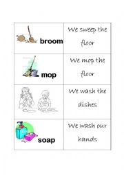 English Worksheet: Flash-cards: Do the cleaning!