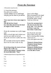 English Worksheet: Christmas song - Frosty the Snowman