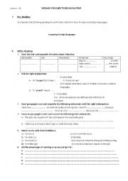 English Worksheet: Would you like to be an au-pair?