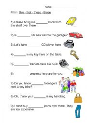 English worksheets: This- that- these- those (demonstrative ...