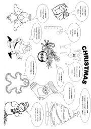 Christmas vocabulary and colouring