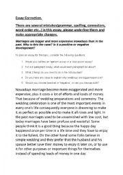 English Worksheet: Essay on Marriage: Model answer correction