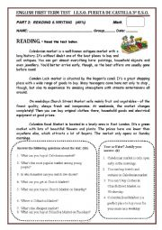 English Worksheet: READING AND WRITING TERM TEST