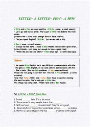 English Worksheet: little- a little- few- a few