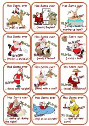 English Worksheet: Has Santa ever....? Go fish Game