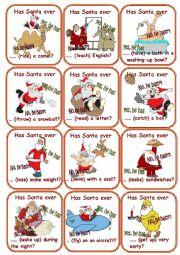 English Worksheet: Has Santa ever....? Go fish Game