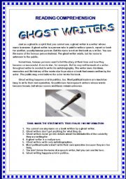 READING COMPREHENSION - Ghost Writers