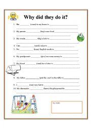 English Worksheet: Irregular past verbs and to + infinitive (expressing purpose)