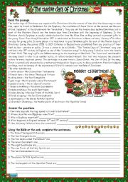 English Worksheet: THE 12 DAYS OF CHRISTMAS