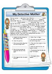 English Worksheet: My Detective Mother