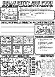 English Worksheet: HELLO KITTY AND FOOD