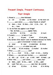 Test. Present Simple, Present Continuous and Past Simple