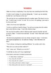 English Worksheet: WISHES - comprehensive reading