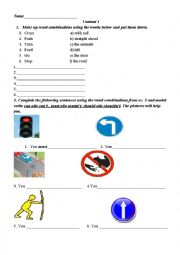 English Worksheet: Traffic sign Writing tasks