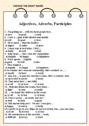 English Worksheet: Adjectives, Adverbs, Participles ( word choice)