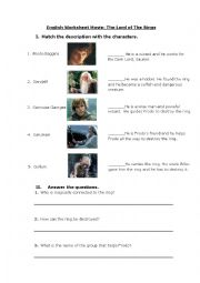 English Worksheet: The Lord of the Rings Movie