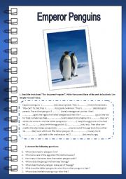 English Worksheet: Emperor Penguins (Reading)
