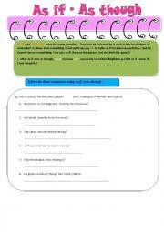 English Worksheet:  as if  as though