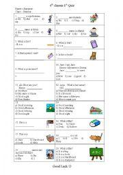 English worksheet: 4th quiz