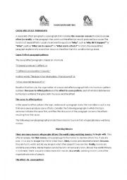 English Worksheet: cause and effect paragraph writing