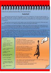 English Worksheet: Basketball (Reading +  Activity + Answer Key)