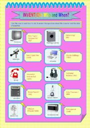 English Worksheet: INVENTION: Who invented it & When was it invented?