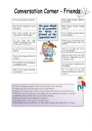 English Worksheet: Conversation corner: Friends