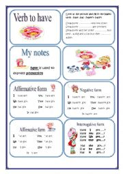 English Worksheet: HAVE MINIBOOK