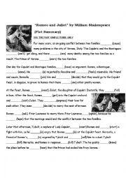 English Worksheet: Romeo and Juliet (plot summary)