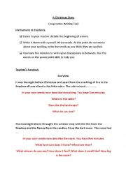 English Worksheet: Teacher�s Handout. Cooperative Writing. Christmas Story