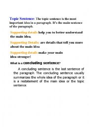 English Worksheet: Topic Sentence and Supporting Details