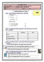 English Worksheet: Full-Term Test N�2 A SPECIAL FRIENDSHIP