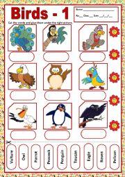 English Worksheet: BIRDS 1 - MATCHING
