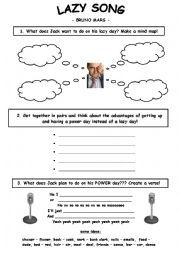 English Worksheet: Lazy Song Tasks (Bruno Mars)