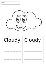 English Worksheet: Weather Flash Cards and Wordsearch