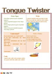 English Worksheet: Tongue Twister