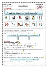 English Worksheet: Violence at School Worksheet