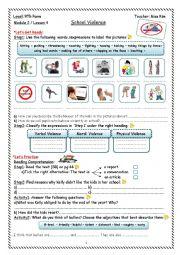 English Worksheet: Violence at School Worksheet