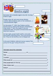 English Worksheet: Bonfire night