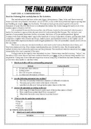 English Worksheet: test about the ROMANS