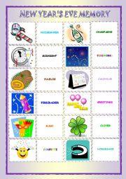 English Worksheet: New Year�s Eve  Memory Game