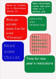 English Worksheet: Advent calendar tasks 1