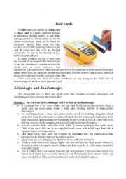 English Worksheet: Debit cards