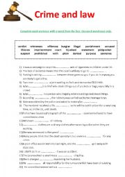 English Worksheet: Crime and law- vocabulary exercise + KEY