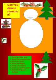 English Worksheet: making a snowman