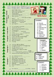 English Worksheet: All I want for Christmas Mariah Carey Justin Bieber (part 1)